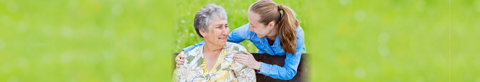 caregiver and old woman at the park